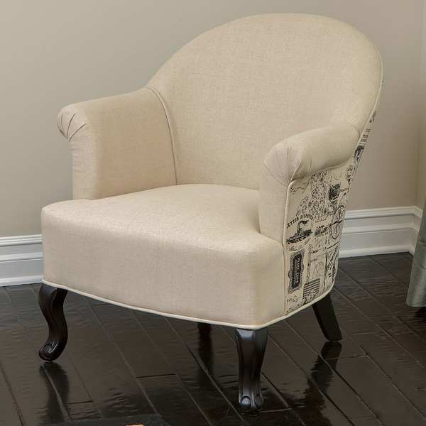 Alexander Beige Printed Club Chair with Espresso-finished Legs by Christopher Knight Home