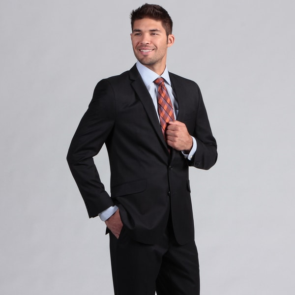 Kenneth Cole Reaction Men's Navy Slim Fit File Weave Suit