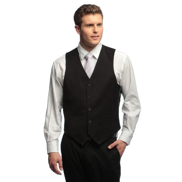 Dockers Men's Herringbone Black Solid Suit Separates Vest
