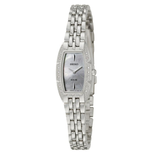Seiko Women's 'Solar' Mother of Pearl Dial Stainless Steel Watch