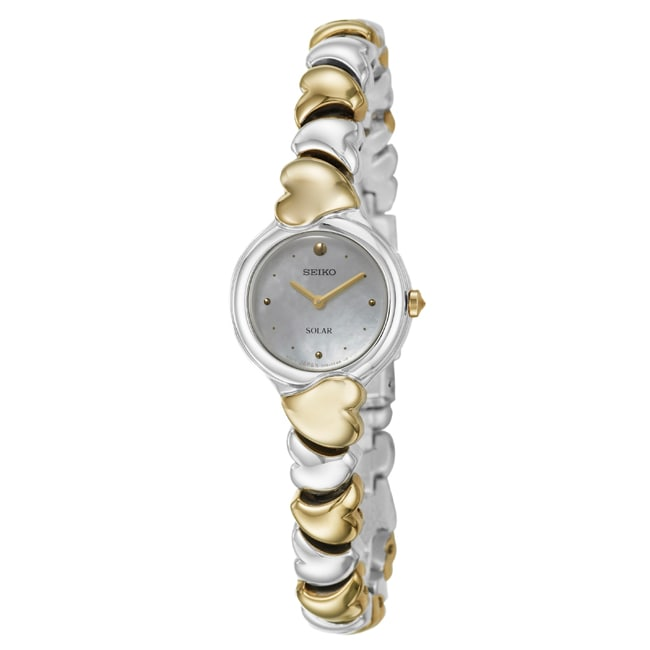 Seiko Women's 'Solar' Stainless Steel and Yellow Goldplated Watch