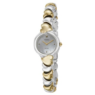 Seiko Women's SUP098 'Solar' Stainless Steel and Yellow Goldplated Watch