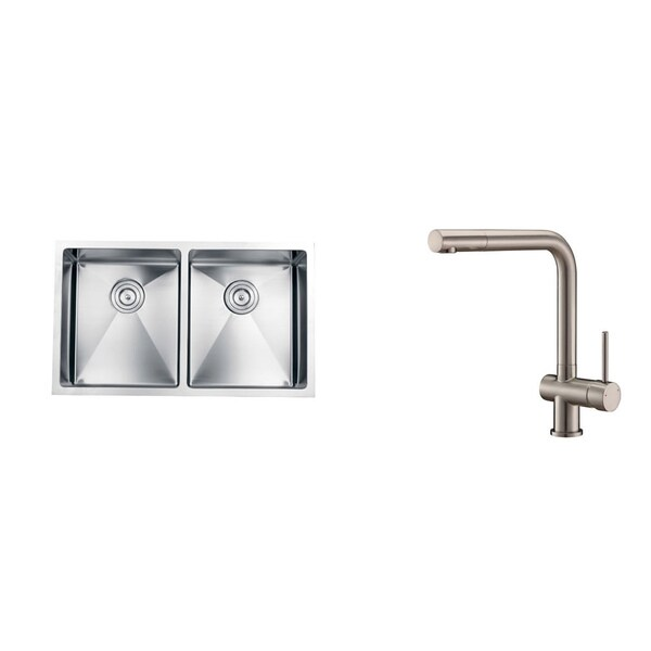 Ruvati Stainless-Steel Kitchen Sink/Brushed Nickel Center-Set Faucet Set