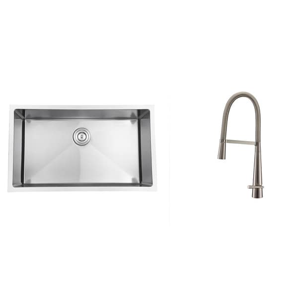 Ruvati Stainless Steel Kitchen Sink/ Brushed Nickel Faucet Set ...