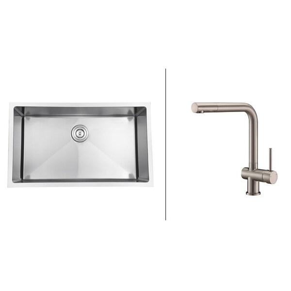 Ruvati Stainless-Steel Kitchen Sink/Brushed Nickel Single-Handle Faucet Set