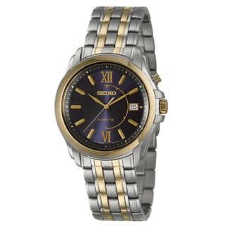 Seiko Men's 'Kinetic' Stainless Steel and Yellow Goldplated Date Watch