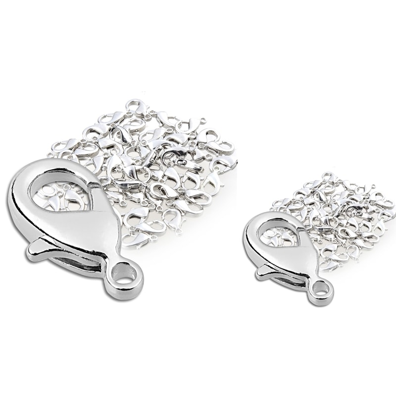 INSTEN 12-mm Shiny Silvertone Metal Lobster Clasps (Pack of 100)
