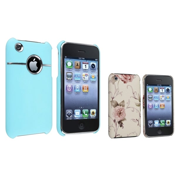 BasAcc Blue Chrome Hole/ White Case for Apple® iPhone 3/ 3GS