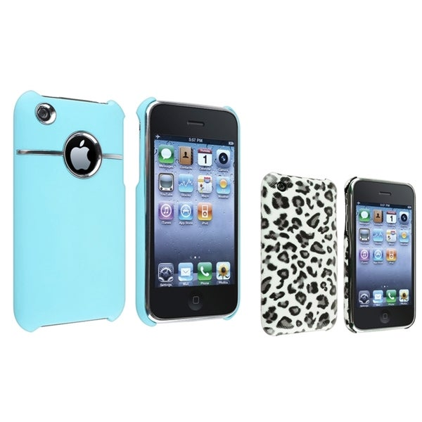 BasAcc Blue Chrome Hole/ Grey Leopard Case for Apple® iPhone 3/ 3GS