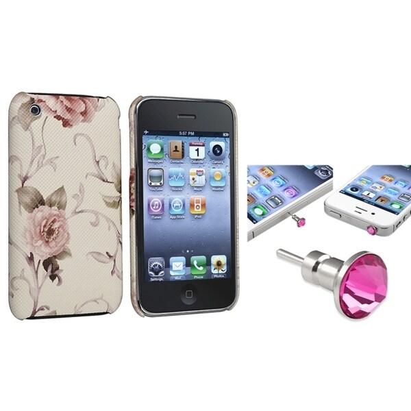 BasAcc Golden Leopard Case/ Pink Headset Cap for Apple® iPhone 3/ 3GS