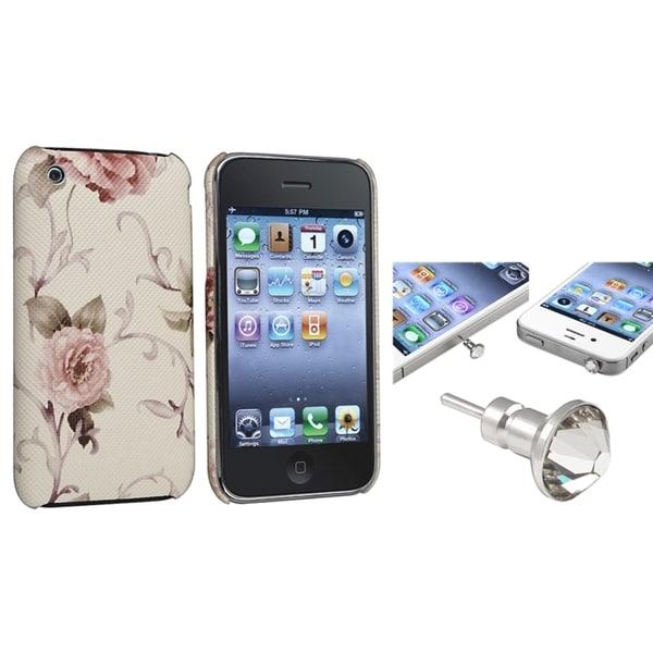 BasAcc Golden Leopard Case/ Clear Headset Cap for Apple iPhone 3/ 3GS