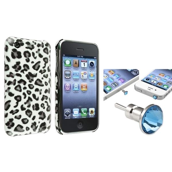 BasAcc Grey Leopard Case/ Blue Headset Cap for Apple iPhone 3/ 3GS