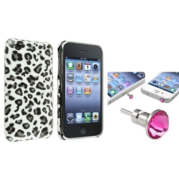 BasAcc Grey Leopard Case/ Pink Headset Cap for Apple® iPhone 3/ 3GS