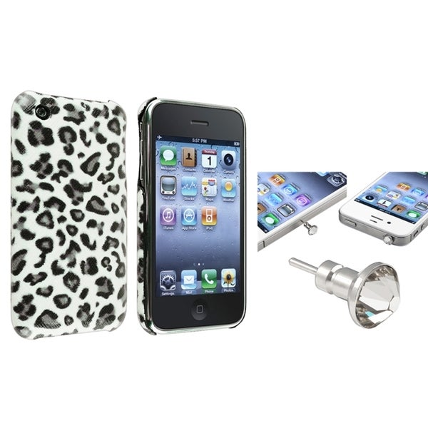 BasAcc Grey Leopard Case/ Clear Headset Cap for Apple® iPhone 3/ 3GS