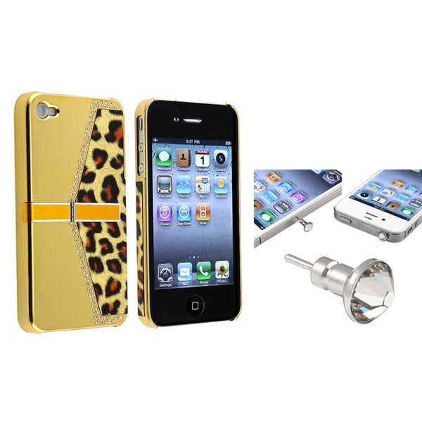 BasAcc Golden Leopard Case/ Clear Headset Cap for Apple iPhone 4/ 4S