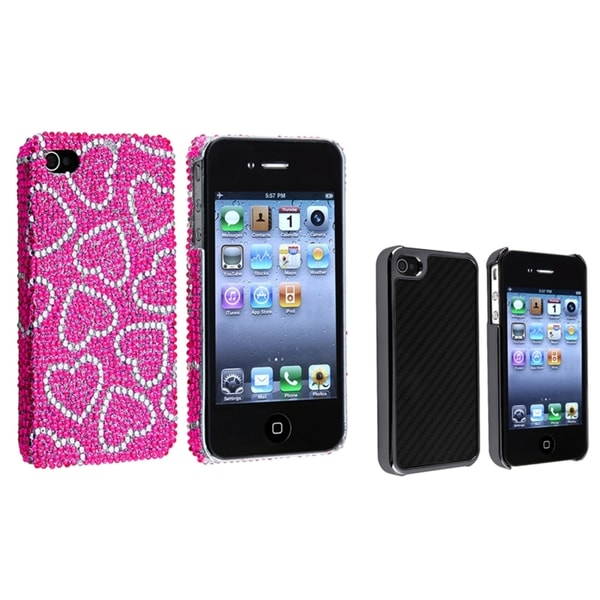 BasAcc Pink/ White Heart/ Black Carbon Case for Apple® iPhone 4/ 4S