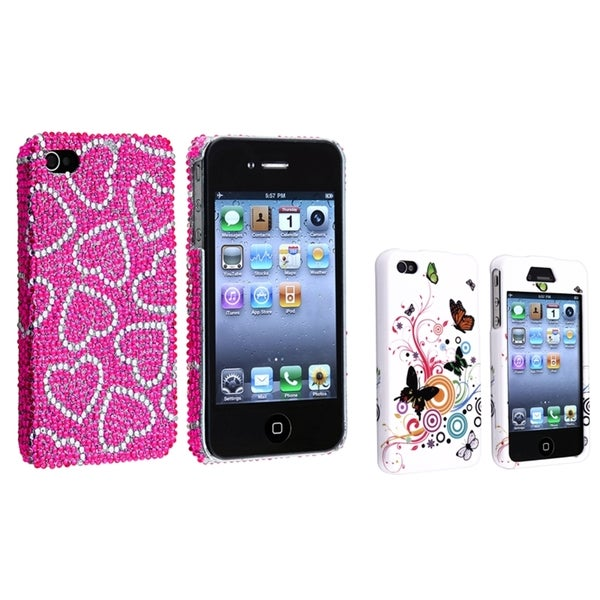 BasAcc Pink/ White Case/ White Rubber Case for Apple® iPhone 4/ 4S