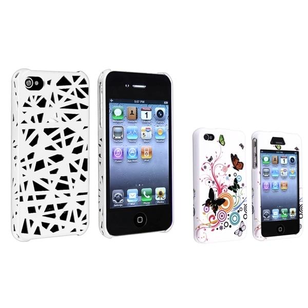BasAcc White Nest/ White Flower Rubber Case for Apple® iPhone 4/ 4S