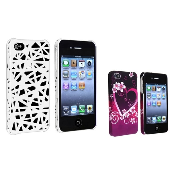 BasAcc White Nest/ Purple Heart Rubber Case for Apple® iPhone 4/ 4S