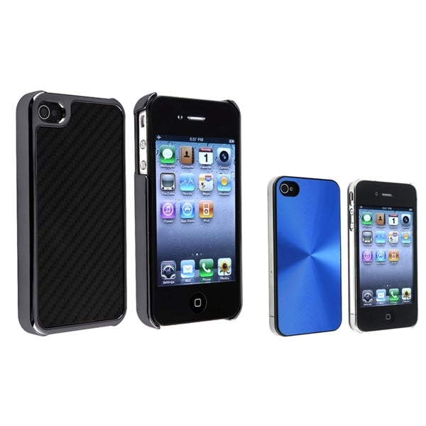 BasAcc Blue Aluminum/ Black Carbon Case for Apple® iPhone 4/ 4S