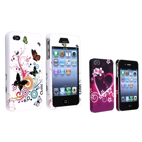 INSTEN White Flower/ Purple Heart Rubber Phone Case Cover for Apple iPhone 4/ 4S
