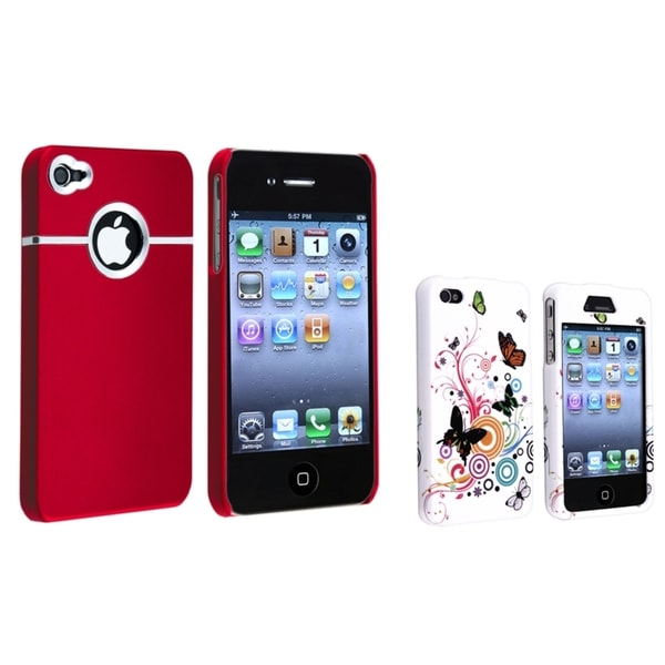 BasAcc Red Chrome/ White Flower Rubber Case for Apple® iPhone 4/ 4S