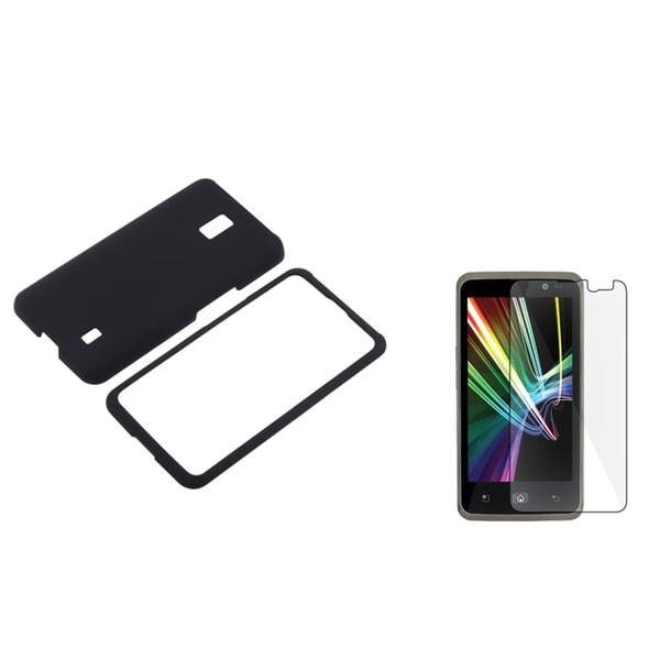 BasAcc Black Rubber Case/ Screen Protector for LG VS920