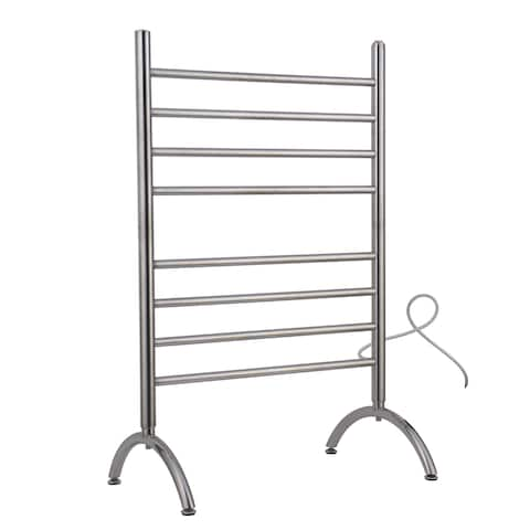 Barcelona Free Standing 8-Bar Brushed Stainless Steel Towel Warmer - Silver