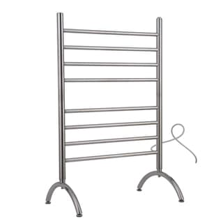 WarmlyYours Barcelona Towel Warmer, 8 bar, Brushed Stainless - Silver