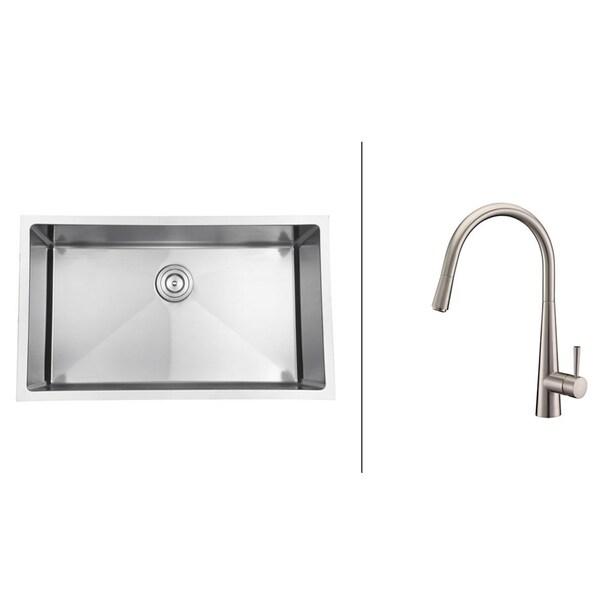 Ruvati Brushed Nickel Stainless Steel Kitchen Sink/ Faucet Set
