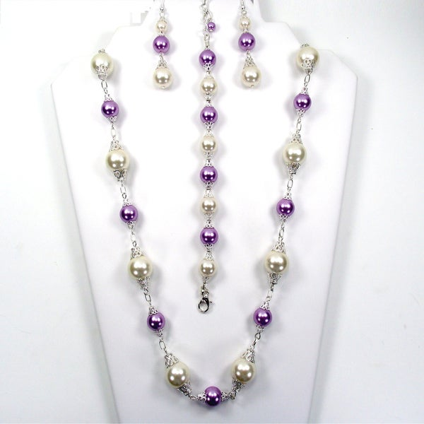 Silverplated Ivory and Lilac Glass Pearl Jewelry Set