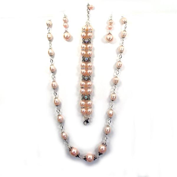 Silverplated Peach Glass Pearl Jewelry Set