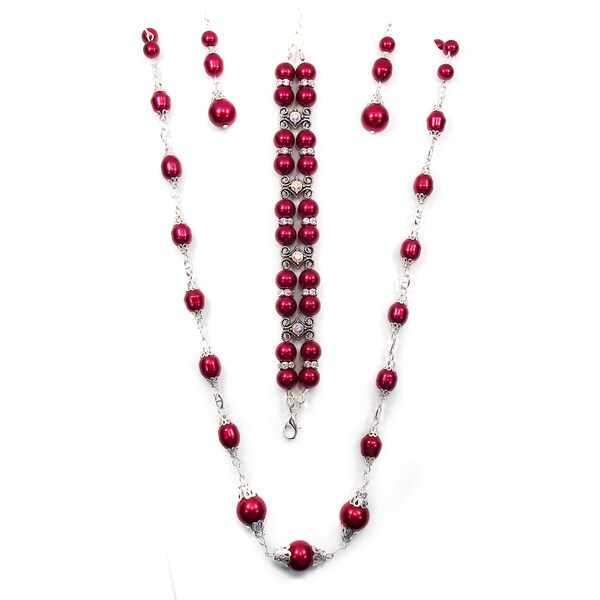 30-Inch Deep Red Pearl Jewelry Set