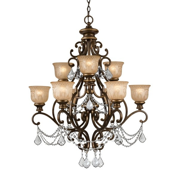 Crystorama Norwalk Collection 9light Bronze Umber Chandelier – Chandelier Bronze