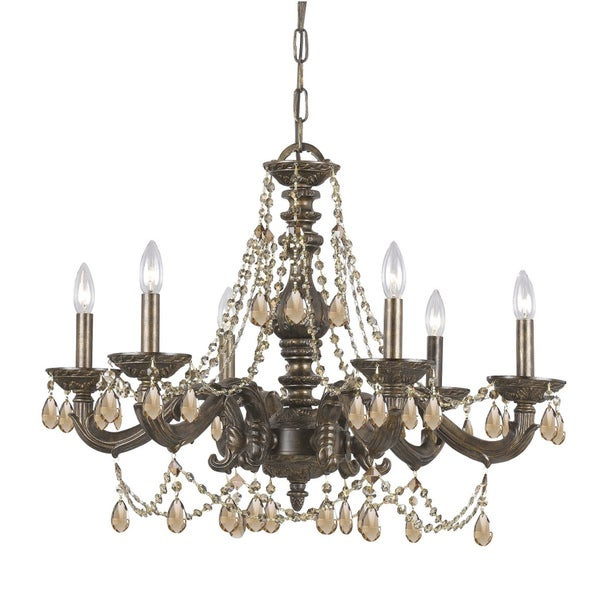 Crystorama Sutton Collection 6-light Venetian Bronze Chandelier