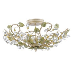 Crystorama Josie Collection 3-light Champagne/ Green Tea Flush Mount