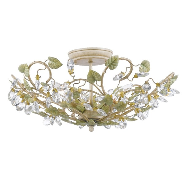 Josie 3-light Champagne/ Green Tea Flush Mount