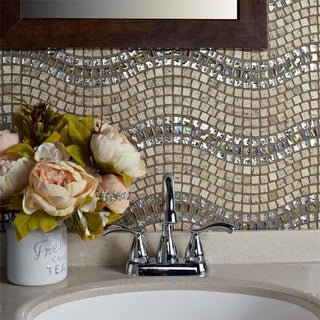SomerTile 11.75x12.25-inch Reflections Wave Venus Glass and Stone Mosaic Wall Tile (10 tiles/10 sqft.)