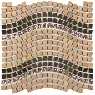 SomerTile 11.75x12.25-inch Reflections Wave Saturn Glass, Stone and Metal Mosaic Tile (Case of 10)