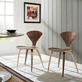 Dark Walnut Cherner Style Stacking Chair Set