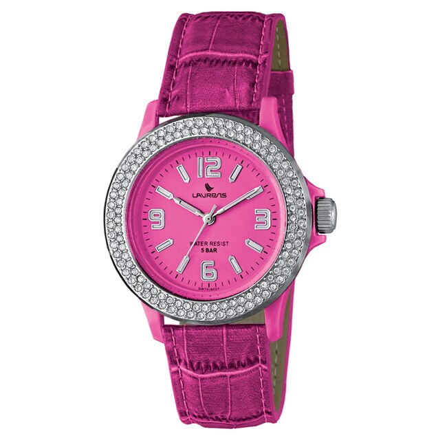Laurens Women's Pink Leather Crystal Watch