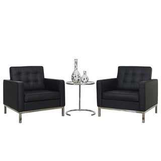 Florence Style Black Leather Armchairs and Eileen Side Table Set