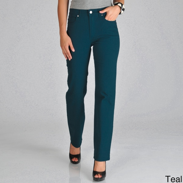 Focus 2000 Women's Teal Size 14 Tummy Control Stretch Denim Pant