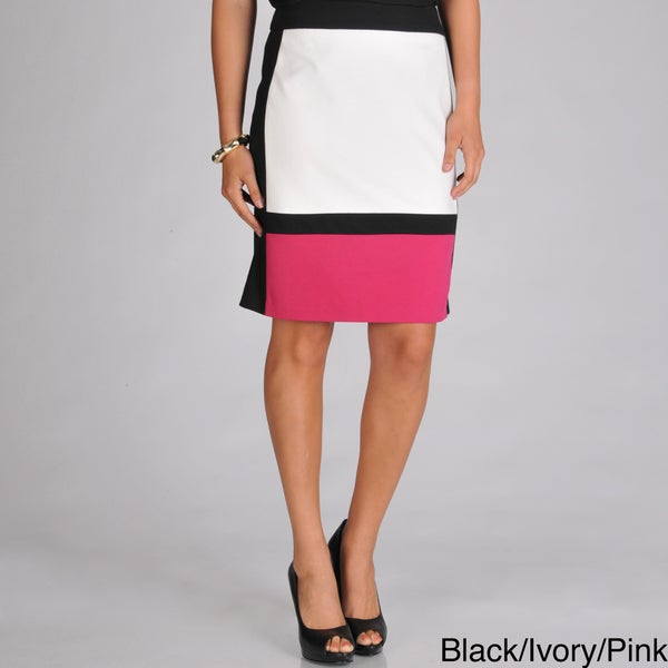 Focus 2000 Women's Ponte Color Blocked Mid-Length Skirt