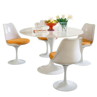 Eero Saarinen Orange Cushion Dining Set