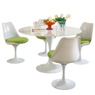Eero Saarinen Green Cushions Table and Chair Set