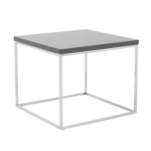 Euro Style Teresa Grey Lacquer Side Table Free Shipping Today 7183817