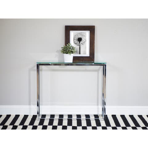 Euro Style Sandor Clear/Chrome Tempered Glass and Steel Console Table