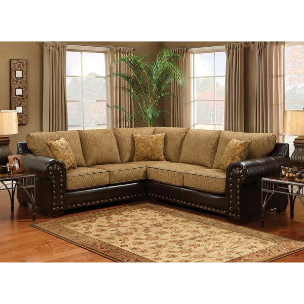 Leather Sectional Sofas Charlotte Nc: Furniture Of America Charlotte Wheat Finish Sectional