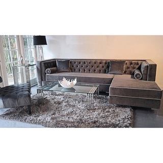 Decenni Custom Furniture 'Tobias' Grey Velvet Tufted 9.5-foot Sectional Sofa